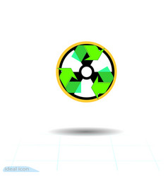 Radioactive waste recycling icon recycle arrows vector