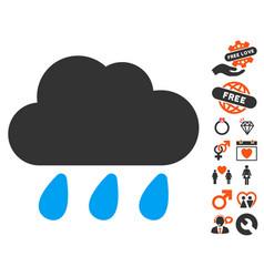 rain cloud icon with dating bonus vector image