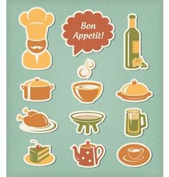Restaurant menu icons set vector