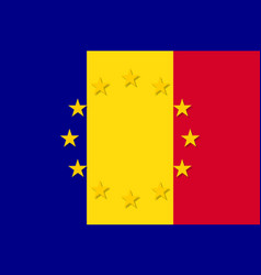 romania national flag with a star circle of eu vector image