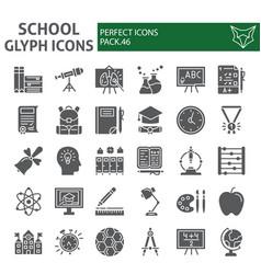 School glyph icon set education symbols vector