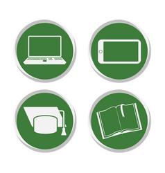 School stickers set online education vector
