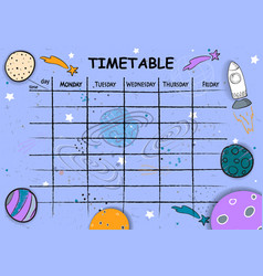 School timetable background with hand drawn space vector