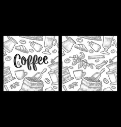 seamless pattern coffee vintage monochrome vector image
