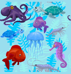 Seamless pattern with aquatic animals and plants vector