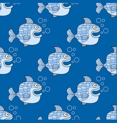 seamless pattern with blue fish on a blue vector image