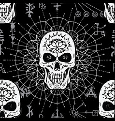 Seamless pattern with evil skull vector