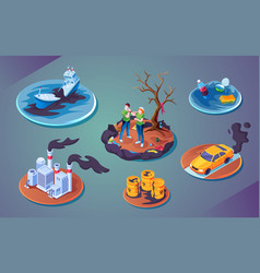 Set ecology catastrophe or pollution disaster vector