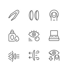 set line icons of contact lenses vector image