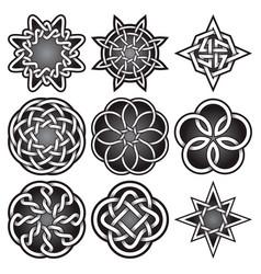 Set logo symbols in celtic knots style vector