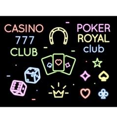 set neon light logos of poker club vector image