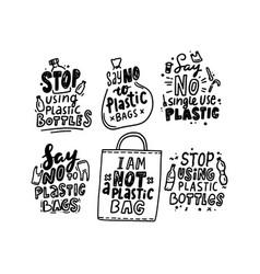 set typography stop using plastic bottles vector image