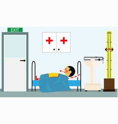 sick child at the doctors office in the medical vector image