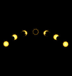 Solar eclipse phases in dark sky vector