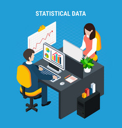Statistical data isometric background vector