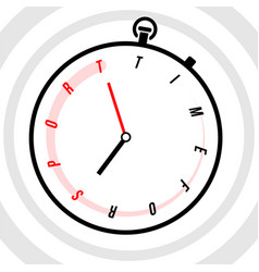 stopwatch with clock face stylized like text time vector image