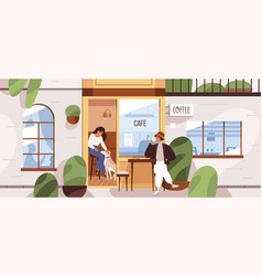 Summer cafe with people inside and outside coffee vector