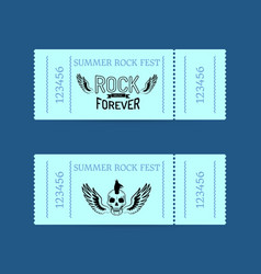 Summer rock fest collection of tickets on blue vector