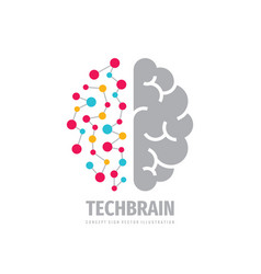 Tech brain logo design future technology concept vector