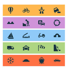 Transport icons set with hump bridge cargo ship vector