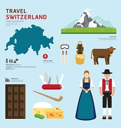Travel Concept Switzerland Landmark Flat Icons vector image