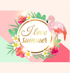 Tropical background with palm leaves and pink vector