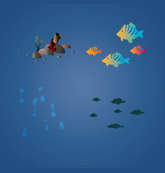 tropical sea set with fish bubbles and corals vector image