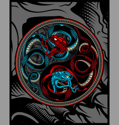 twin snakesnake ying yang hand drawing vector image