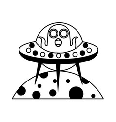 Unidentified flying object on planet icon vector