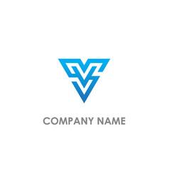 V initial triangle logo vector
