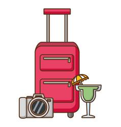Vacations bag cocktail and camera vector