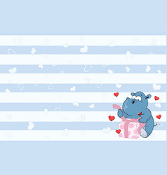 valentines card with cute hippo poet vector image