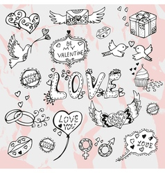 valentines day doodles vector image