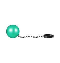 Vintage shackle in cyan and black design vector