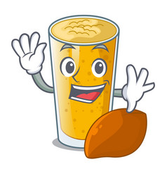 waving lassi mango in a cartoon bottle vector image