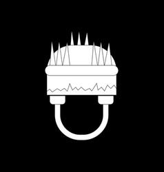 White icon on black background military helmet vector