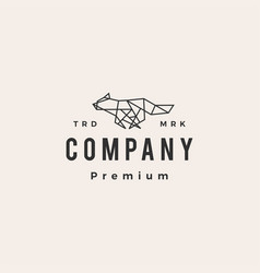 wolf geometric polygonal hipster vintage logo icon vector image