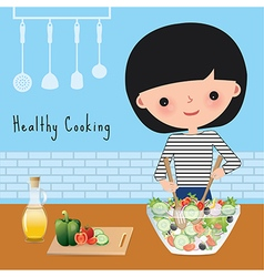 Woman healthy cooking in the kitchen vector