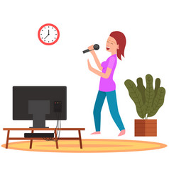Woman holding microphone and singing music vector