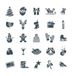 Christmas symbols flat silhouette icons set vector image