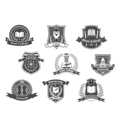 icons badges set for college or university vector image
