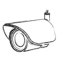 Monochrome sketch of security video camera vector