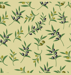 olive seamless pattern with leaves olives vector image