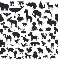seamless pattern with black animals silhouettes vector image vector image