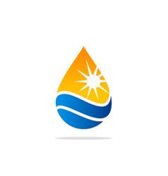 water drop nature sun energy logo vector image