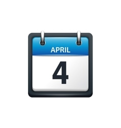 April 4 Calendar icon flat vector image vector image