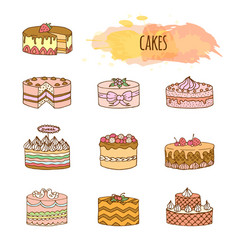 cake hand drawn set vector image vector image
