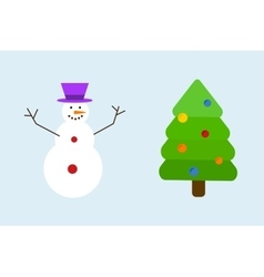 Christmas tree with snowman decoration concept vector image