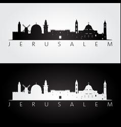 jerusalem skyline and landmarks silhouette vector image