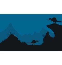 Landscape of stegosaurus in hills vector